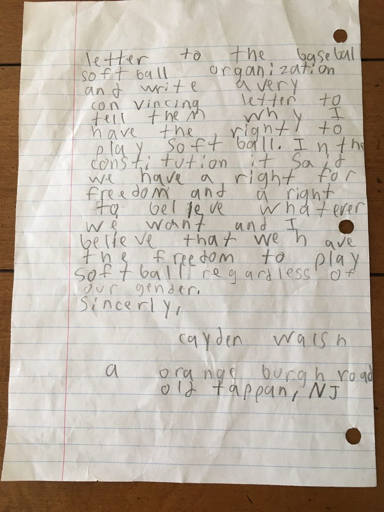 Old Tappan boy's letter requesting permission to play softball.
