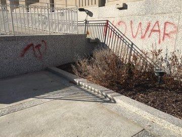 Soldiers Memorial vandalized.