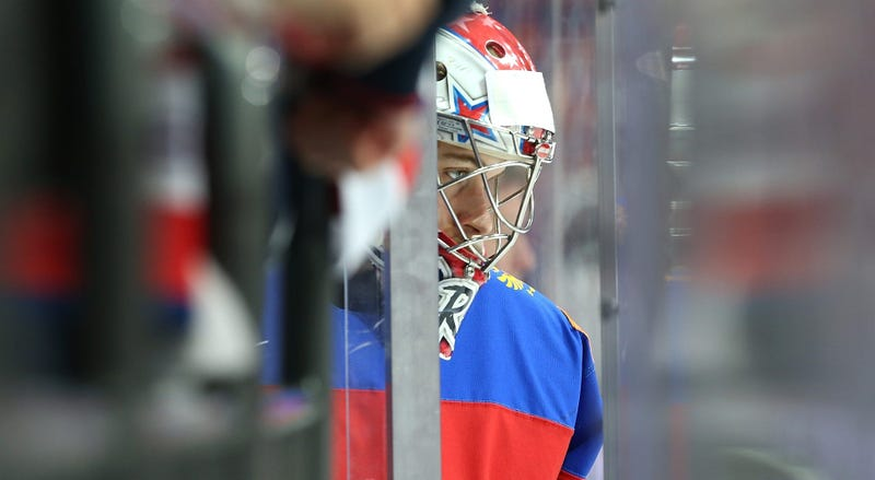 Ilya Sorokin #31 of Russia comes out to the ice prior the game against USA at Ice Palace on May 22, 2016 in Moscow, Russia
