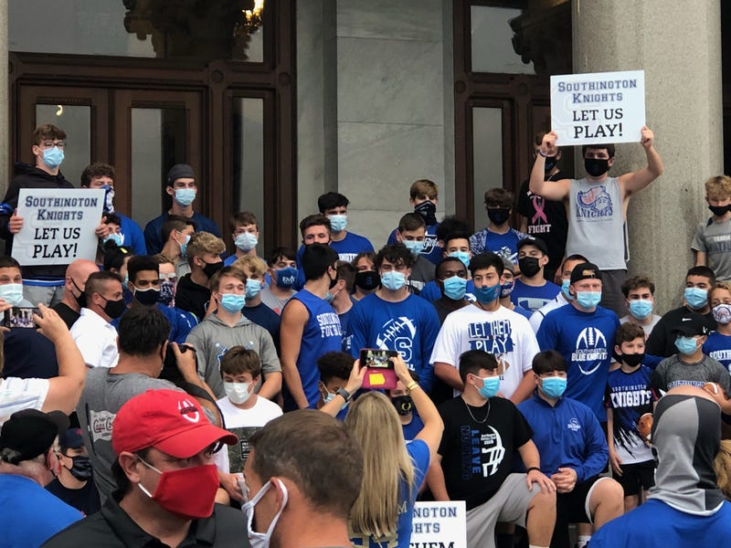 Students from Southington, CT protest CIAC's decision to cancel fall football, Sept. 9, 2020 at the CT State Capitol