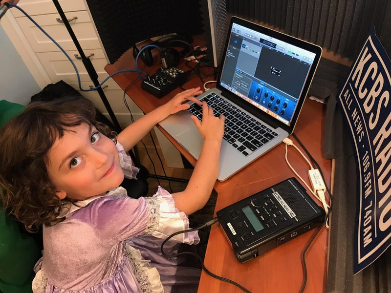 Maya Sovern-Newmann hard at work in Doug's home studio.