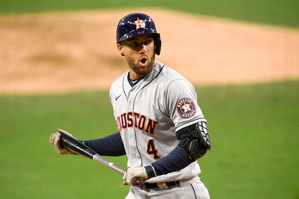 Astros CF George Springer reacts after striking out