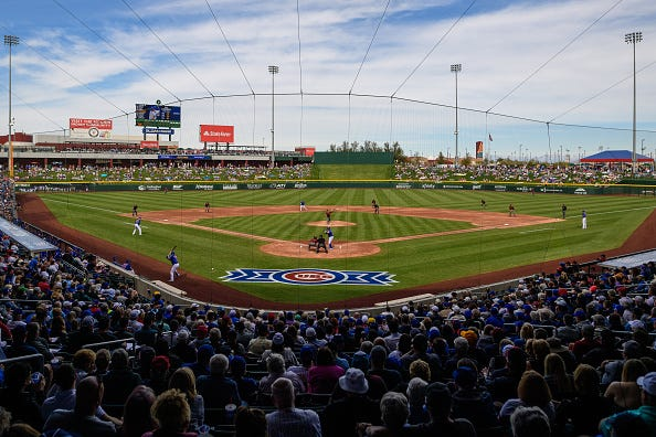 The Chicago Cubs play a spring training game in Arizona.