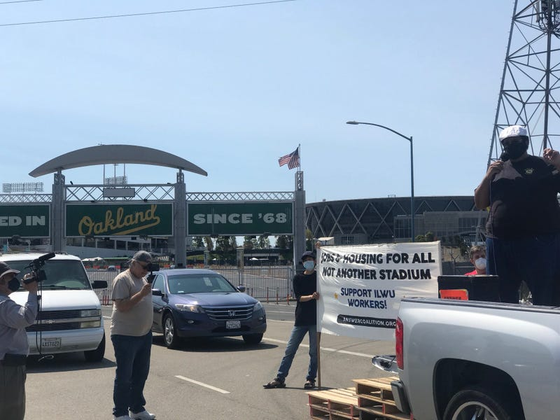 Protesters started at the Oakland Coliseum to raise against the A's planned stadium at Howard Terminal