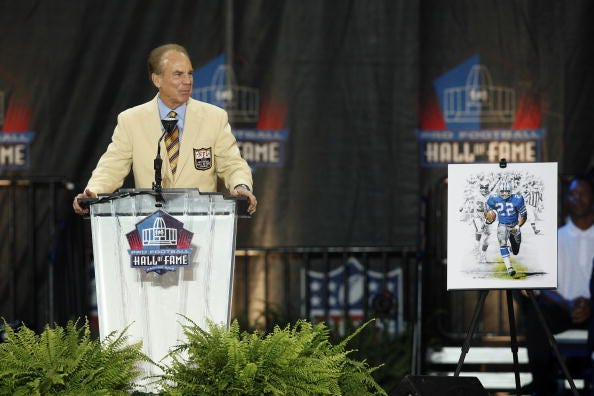 Roger Staubach delivers his induction speech at the Pro Football Hall of Fame.