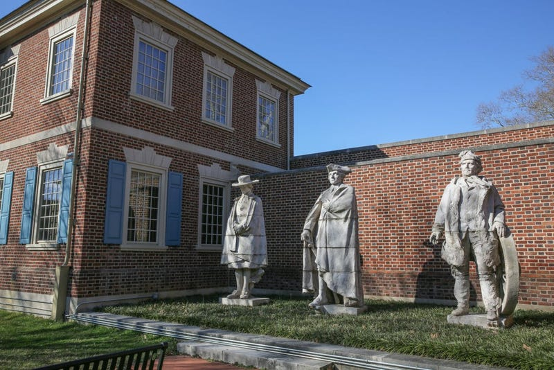 Sculptures by Alexander Stirling Calder located in the exterior garden of the Presbyterian Historical Society.