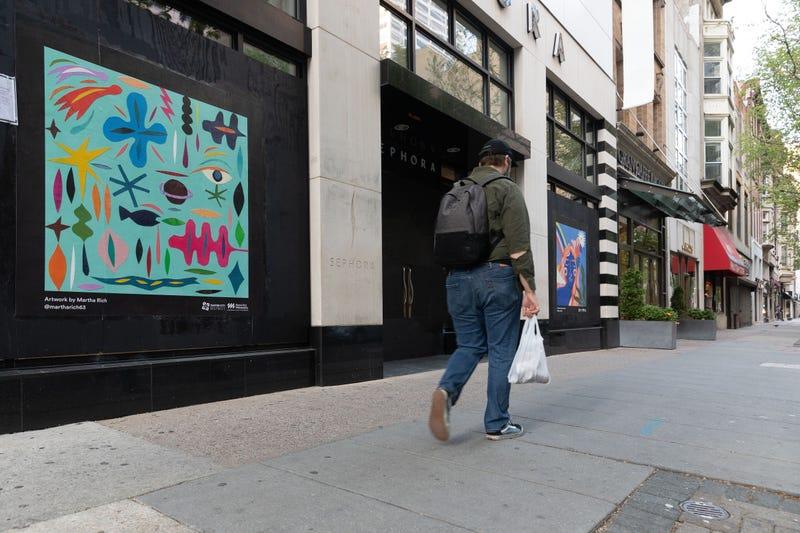 Artwork on Center City storefronts