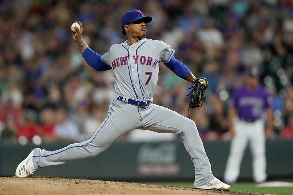 Marcus Stroman pitches for the New York Mets