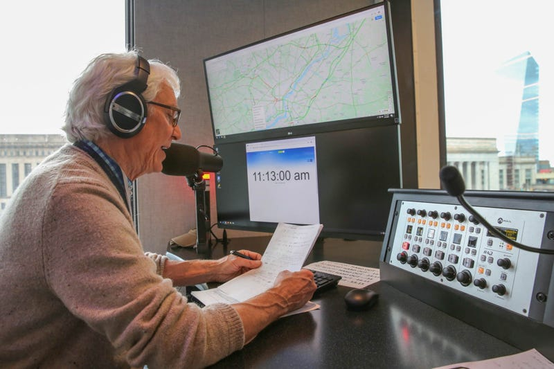 Sam Clover on duty in the brand new KYW Traffic Center.
