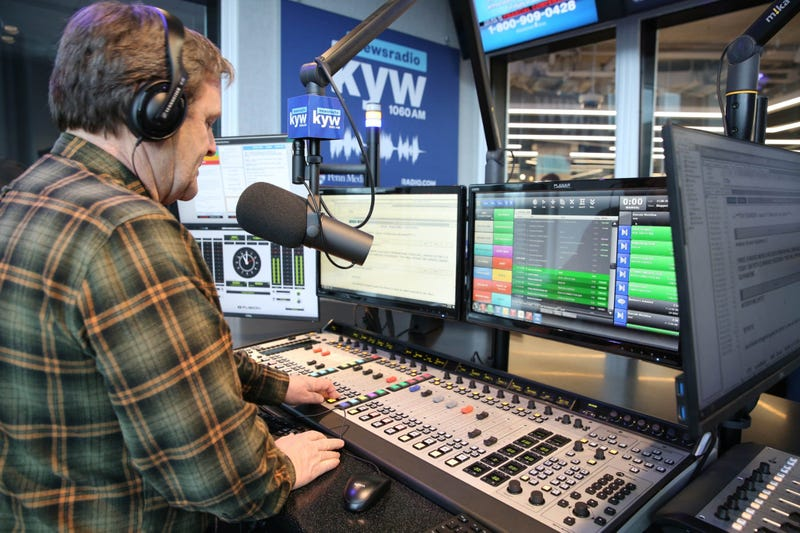 Anchor Brandon Brooks on the air in one of the new air studios.