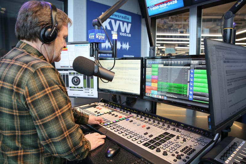 KYW Newsradio anchor Brandon Brooks in the state-of-the-art air studio at KYW Newsradio's new home in the RADIO.COM World Headquarters.