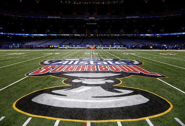 The Superdome in New Orleans prepares for the Allstate Sugar Bowl in 2018.