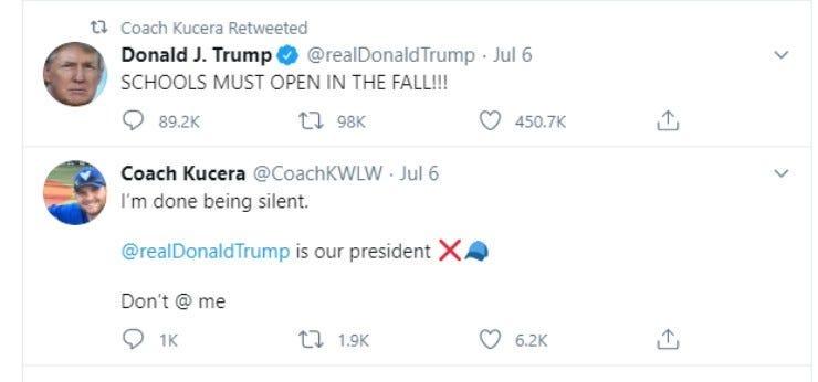 teacher tweets support for Trump