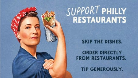 Detail from a Center City District campaign promoting local restaurants.