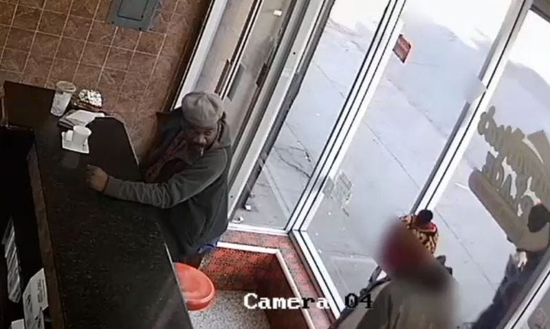 Video of suspect wanted in fatal stabbing.