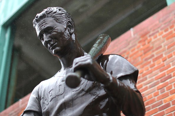 A statue of Ted Williams outside Fenway Park.