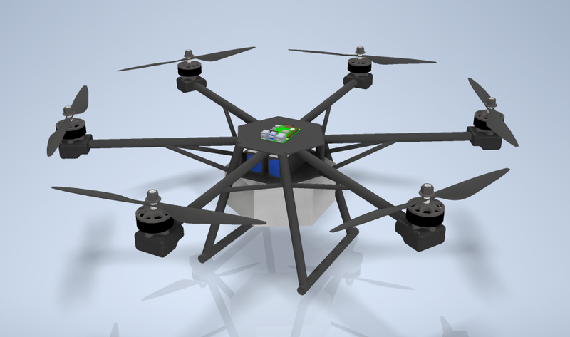 Rendering of the drone created by the Dublin High School Robotics Club.