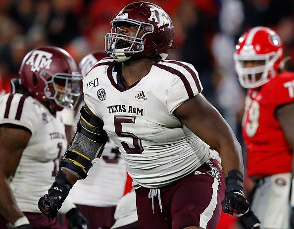 Bobby Brown of Texas A&M celebrates a play.