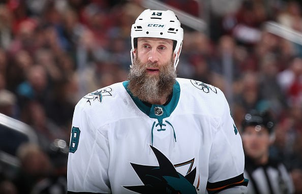 Joe Thornton looks on from the ice during a Sharks game.
