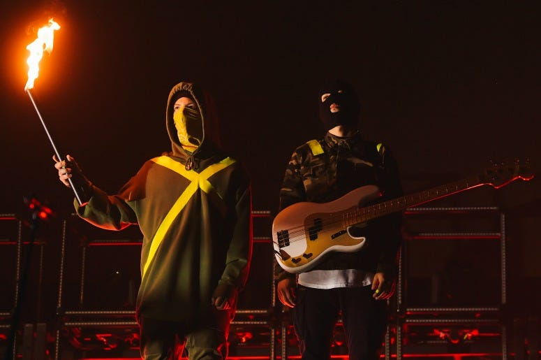Josh Dun and Tyler Joseph of Twenty One Pilots perform at Staples Center on November 01, 2019