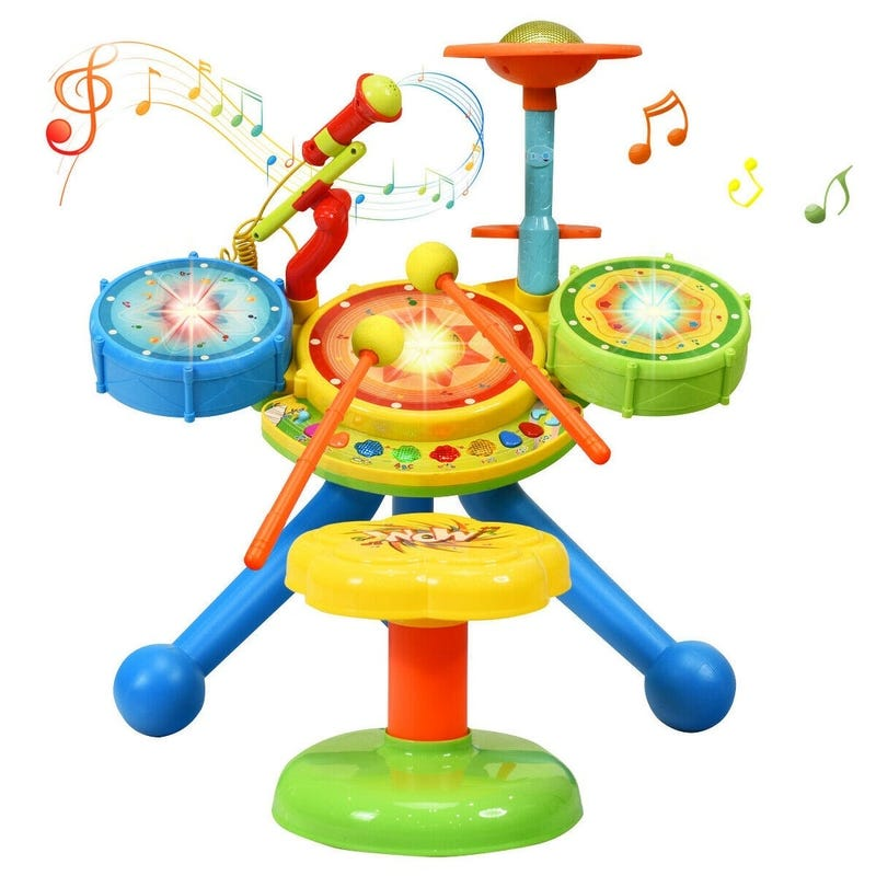 Gymax Kids Electric Jazz Drum Set