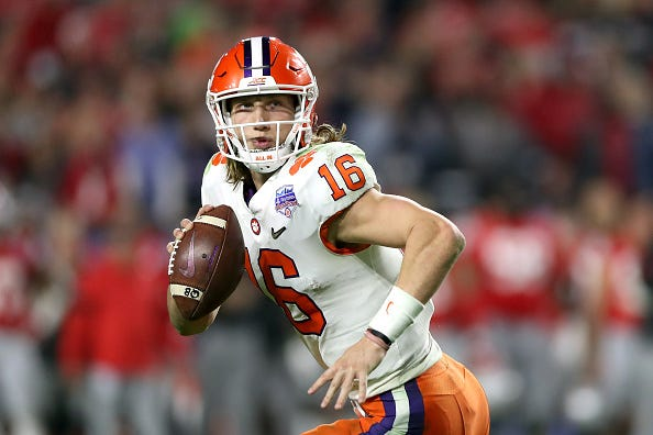 Clemson QB Trevor Lawrence looks to make a play vs. Ohio State.