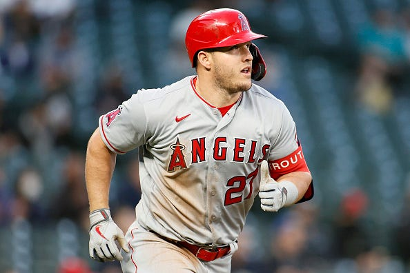 Mike Trout rounds the bases for the Angels.