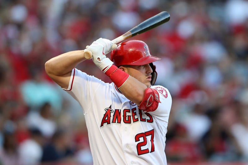 Mike Trout locks in at the plate during an Angels game.