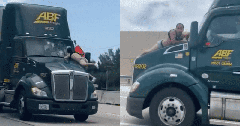 Man clings to hood of 18 wheeler for 9 miles on I-95 in Florida
