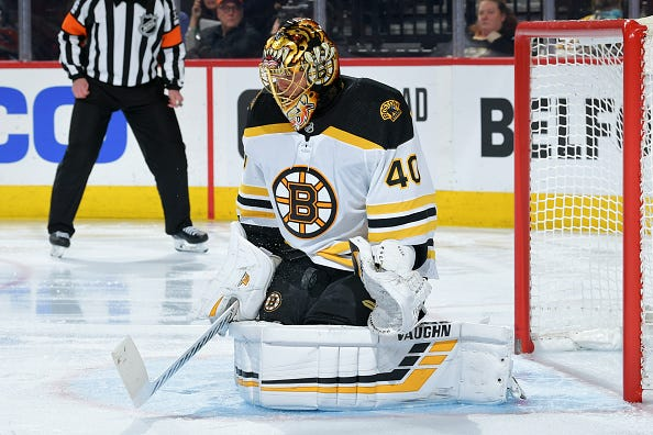 Tuuka Rask stops the puck from going through the 5-hole.