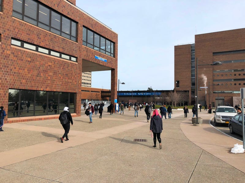 Students walking around the University at Buffalo around Capen Hall. January 30, 2020 (WBEN Photo/Mike Baggerman)