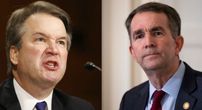 Judge Brett Kavanaugh (left) and Virginia Gov. Ralph Northam