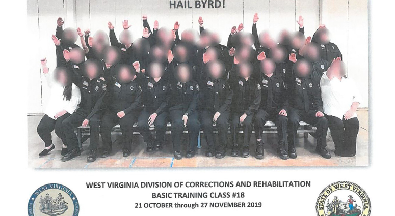West Virginia correctional cadets seen apparently giving a Nazi salute.