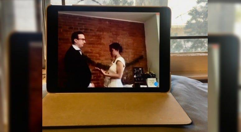 Lila Elmously and Jimmy Wojnarowicz's Zoom wedding.