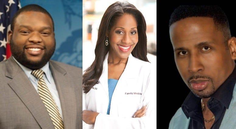 Rep. Jordan Harris, Dr. Jennifer Caudle, Derrick Lee.