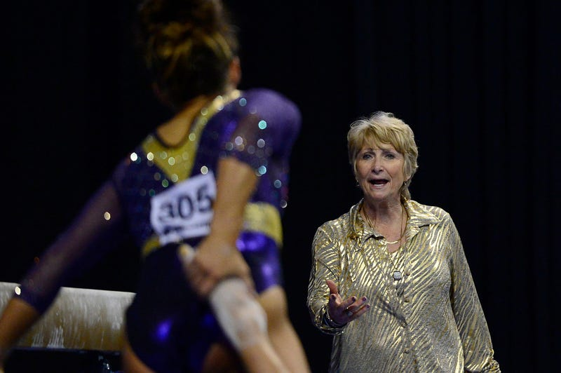 LSU Tigers gymnastics head coach D-D Breaux talks with Ashleigh Gnat prior to a beam performance during the semi-finals of the 2017 NCAA Women's Gymnastics Championships at Chaifetz Arena.