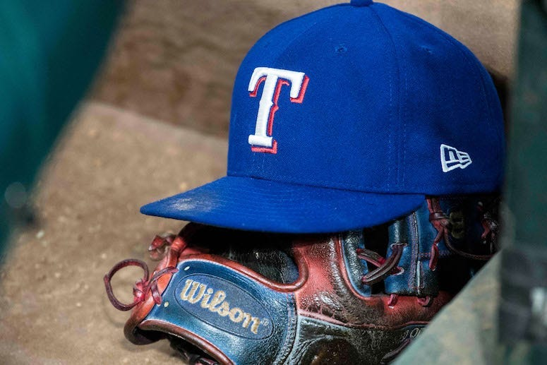 Texas Rangers, Hat, Wilson Glove, Baseball, Dugout, Dirty