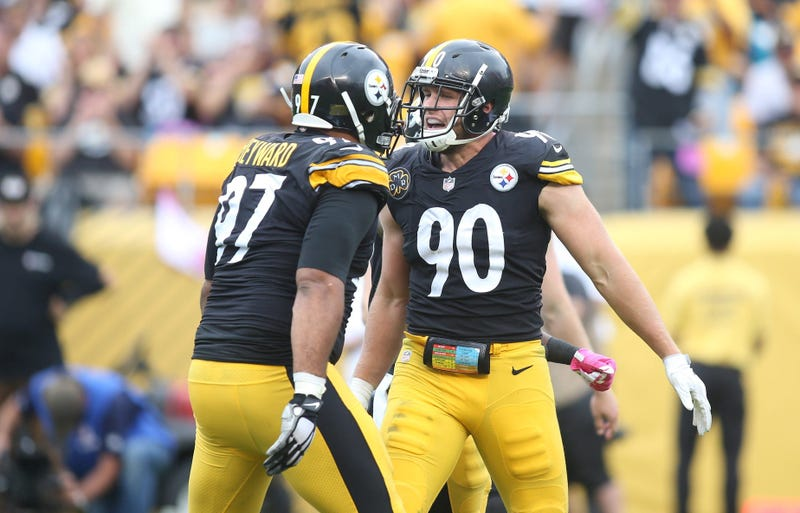 Pittsburgh Steelers defensive end Cameron Heyward (97) and outside linebacker T.J. Watt