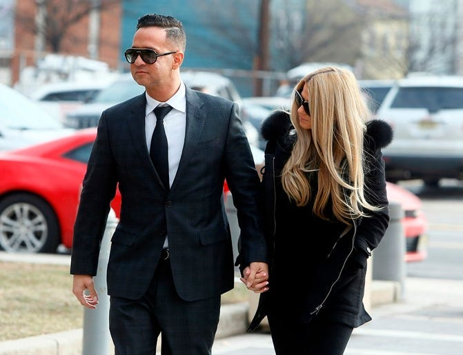 January 19, 2018; Newark , NJ, USA; Mike 'The Situation' Sorrentino, breakout star of MTV's Jersey Shore enters the US Federal Courthouse in Newark with girlfriend Lauren Pesce. Sorrentino wrote to a judge that he will plead guilty today to federal tax ch