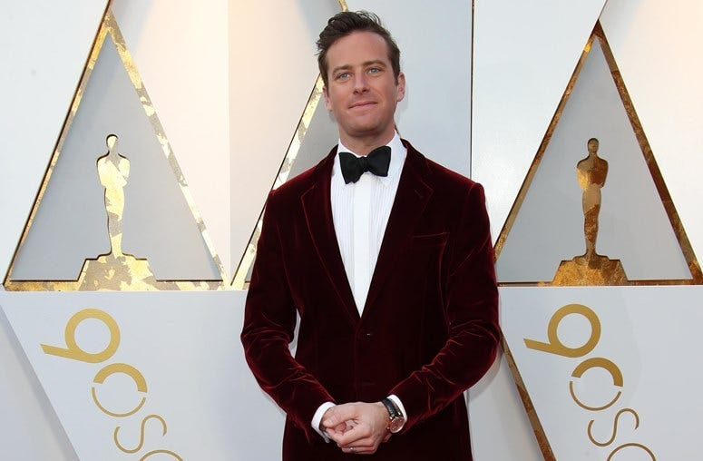 March 4, 2018; Hollywood, CA, USA; Armie Hammer arrives at the 90th Academy Awards at Dolby Theatre.