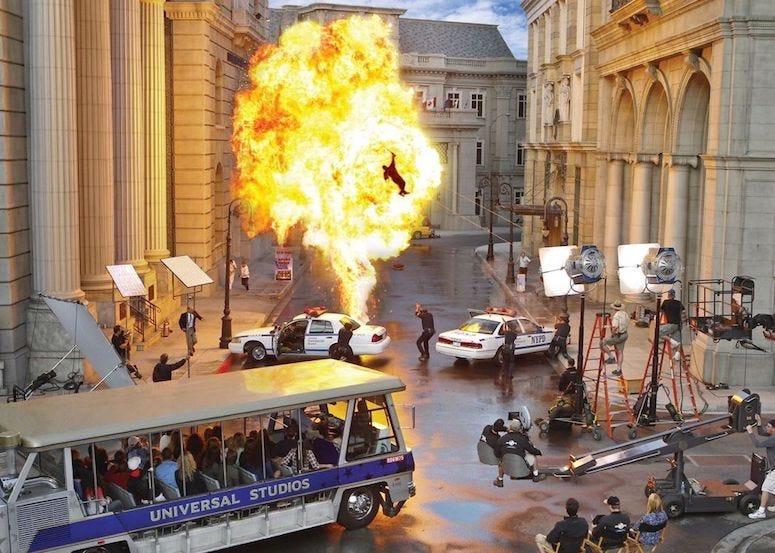 Universal Studios, Tour, Bus, Movie Set, Fire, Fireball, Explosion