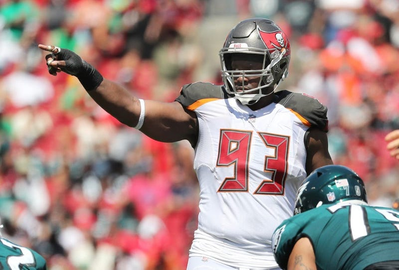 Sep 16, 2018; Tampa, FL, USA; Tampa Bay Buccaneers defensive tackle Gerald McCoy (93) points during the second quarter at Raymond James Stadium