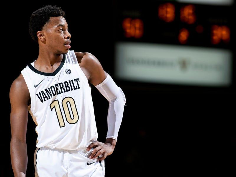 Vanderbilt guard Darius Garland (10) waits for play to resume against Alcorn State during the second half at Memorial Gym in Nashville, Tenn., Friday, Nov. 16, 2018. Vandy Alcornstate 111618 027
