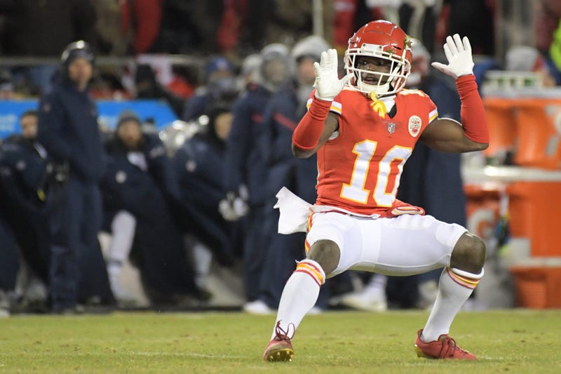 Jan 20, 2019; Kansas City, MO, USA; Kansas City Chiefs wide receiver Tyreek Hill (10) reacts during the first half of the AFC Championship game against the New England Patriots at Arrowhead Stadium.
