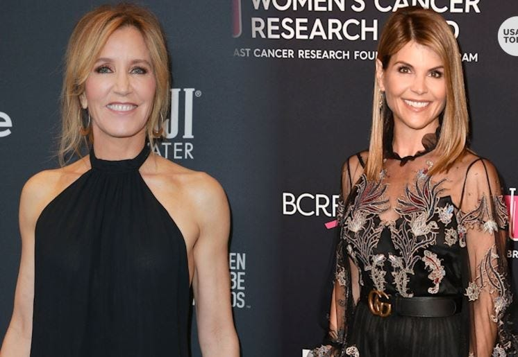 VIDEO THUMB - Lori Loughlin, Felicity Huffman charged in college bribe scandal Vpclife Celeb College Bribes Desk Thumb