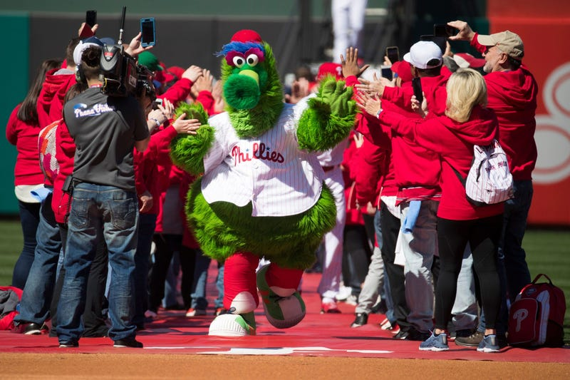 The Phillie Phanatic takes to the field on 2019 opening day at Citizens Bank Park.