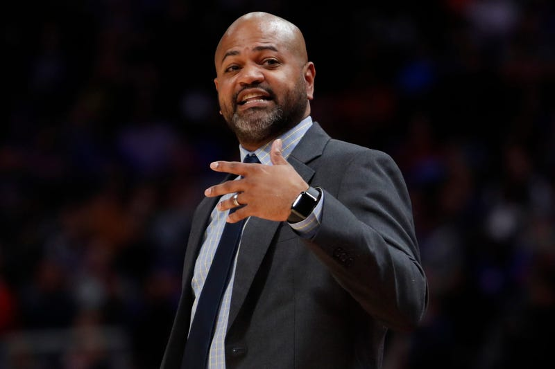 Memphis Grizzlies head coach J.B. Bickerstaff yells from the sidelines during the second quarter against the Detroit Pistons at Little Caesars Arena.