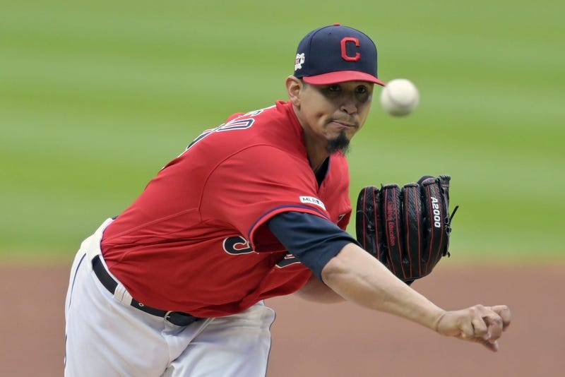 May 20, 2019; Cleveland, OH, USA; Cleveland Indians starting pitcher Carlos Carrasco (59) delivers a pitch in the first inning against the Oakland Athletics at Progressive Field. Mandatory Credit: David Richard-USA TODAY Sports