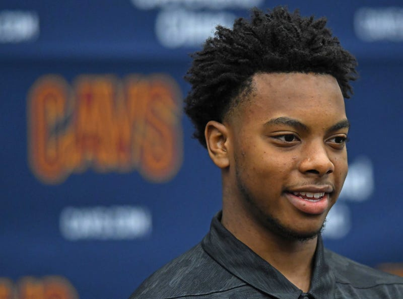 Jun 21, 2019; Independence, OH, USA; Cleveland Cavaliers first round pick Darius Garland answers questions during a press conference at Cleveland Clinic Courts. Mandatory Credit: David Dermer-USA TODAY Sports