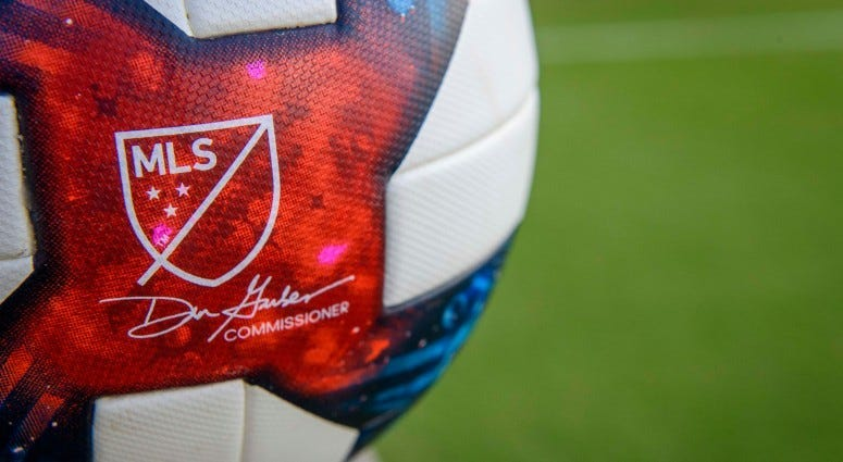 A view of the game ball and MLS logo before the game between FC Dallas and the D.C. United on Jul 4, 2019 at Toyota Stadium.